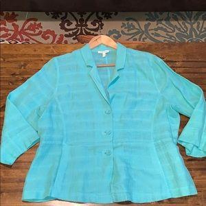 Eileen Fisher mint green linen blazer